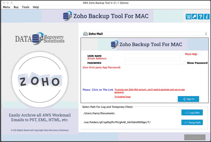 DRS Mac Zoho Backup full screenshot