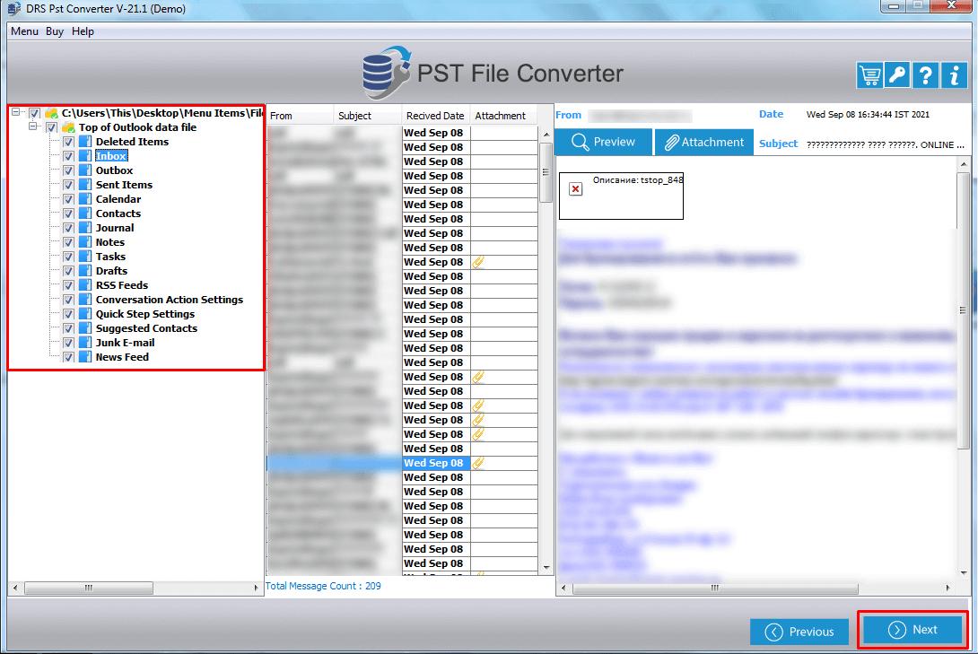 DRS PST File Converter Screenshot