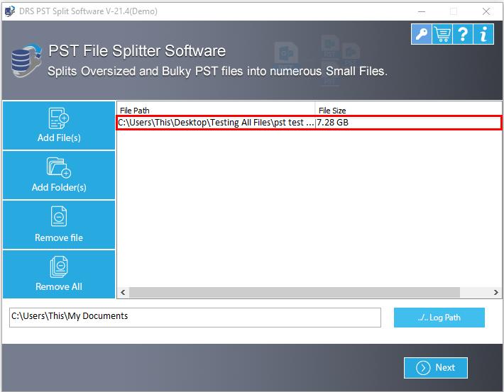 DRS PST Splitter Screenshot