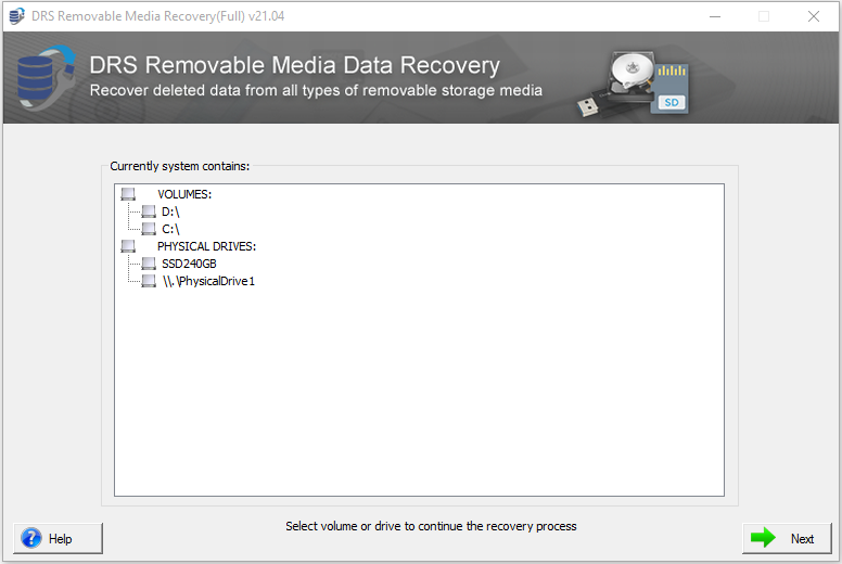Removable Media Data Recovery full screenshot