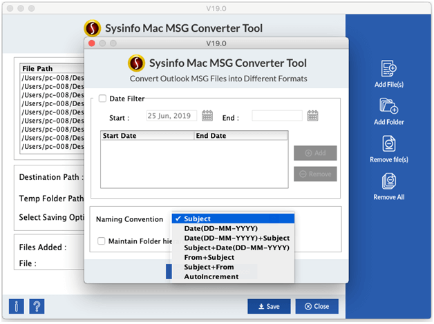DataRecoverySolutions Mac MSG File Converter full screenshot