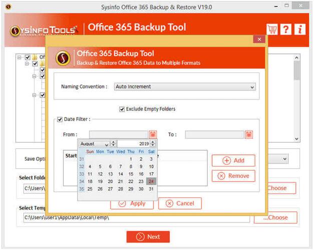 Office 365 Export Tool full screenshot